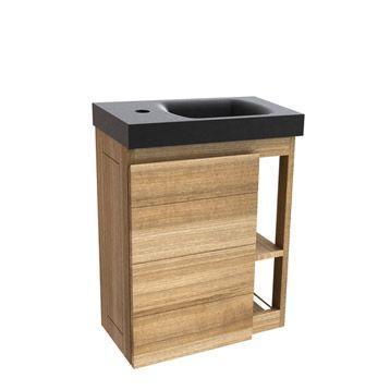 199u20ac Meuble lave-mains avec miroir Faireway, naturel WC - meuble pour wc suspendu leroy merlin