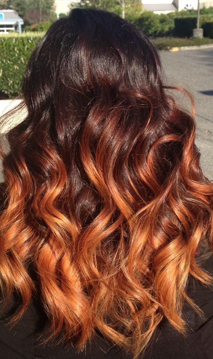 Image Result For Orange Balayage On Dark Hair Hairstyles