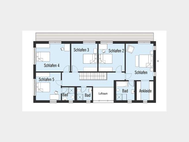 landhaus bond grundriss dg 5 schlafzimmer und 3 b der auf fast 150 qm wohnfl che luxus pur f r. Black Bedroom Furniture Sets. Home Design Ideas