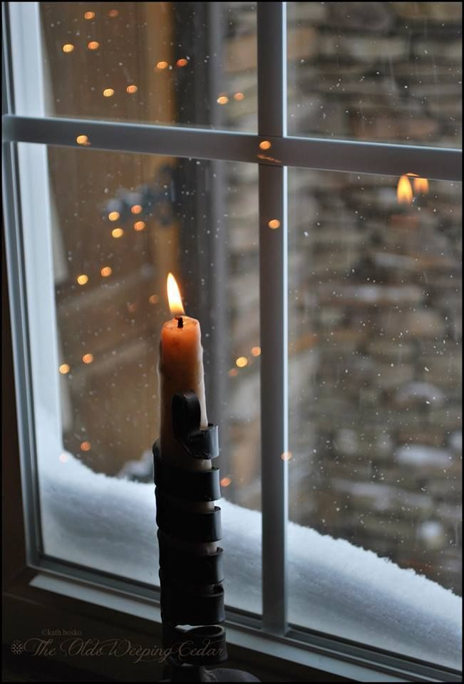 Candle In The Window With Snow Hygge