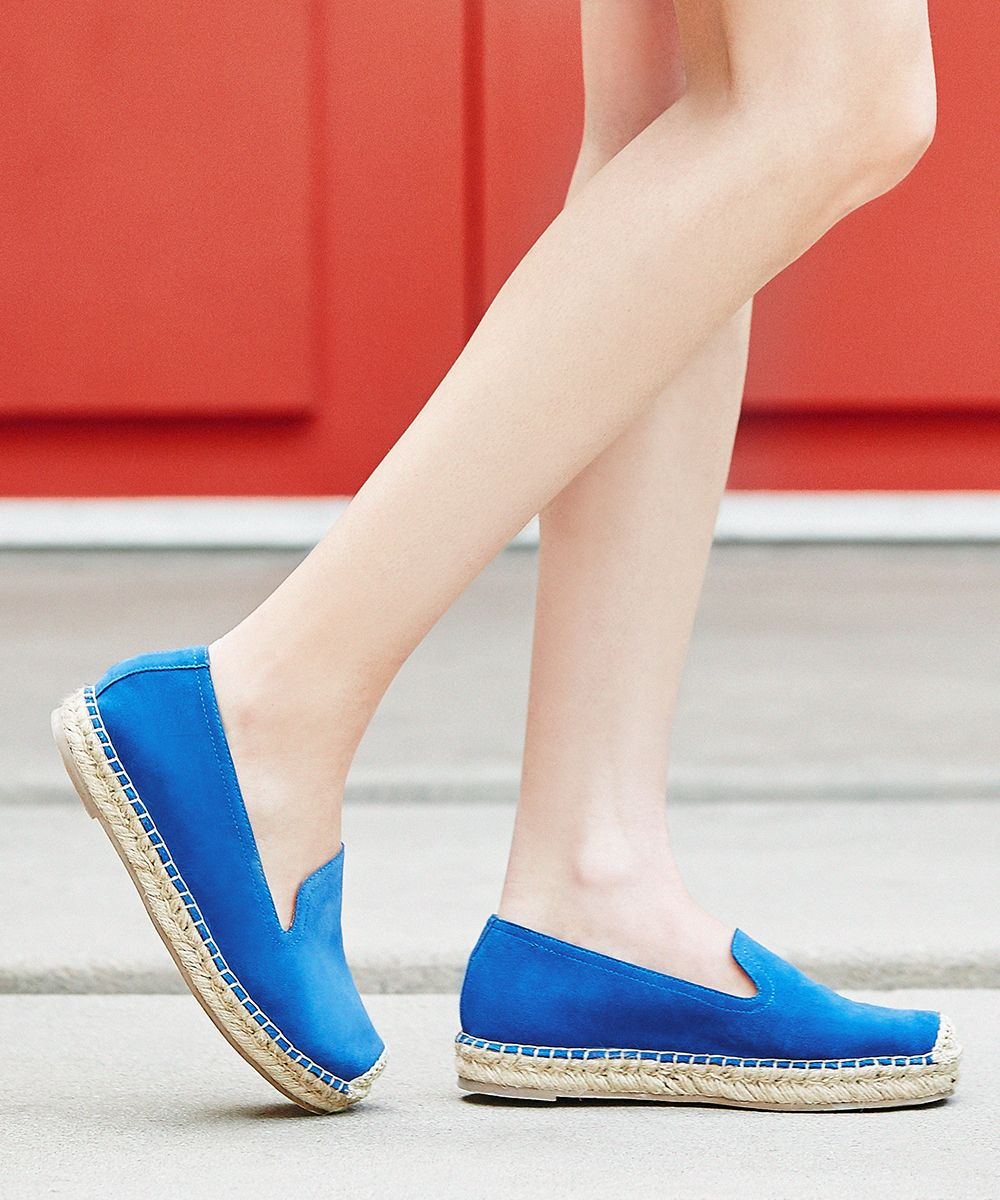 Blue suede espadrilles with braided stitching | Sole Society Maddox
