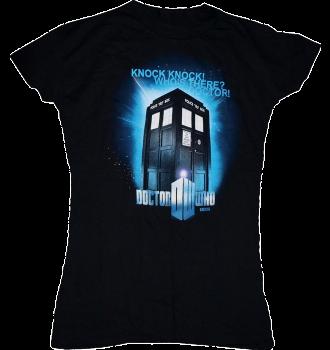 "Doctor Who - ""Knock Knock"" Female Black T-Shirt"