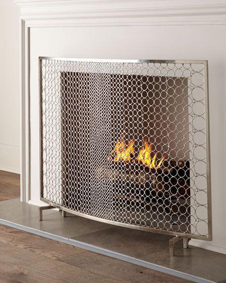 Interlude Home Sabrina Fireplace Screen Fireplace Screens Home Fireplace Glass Fireplace Screen