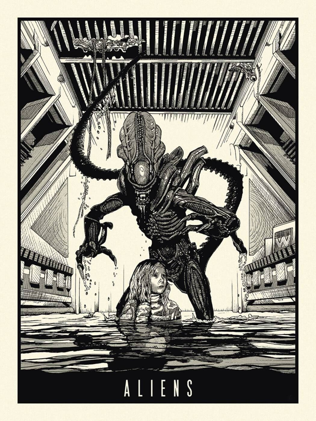 Alien tallenge classic scifi hollywood movie art poster