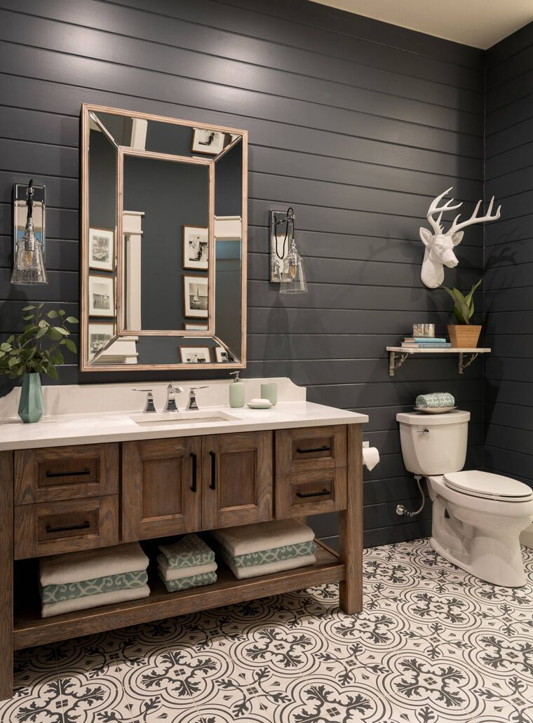 large rustic vanity with weathered wood