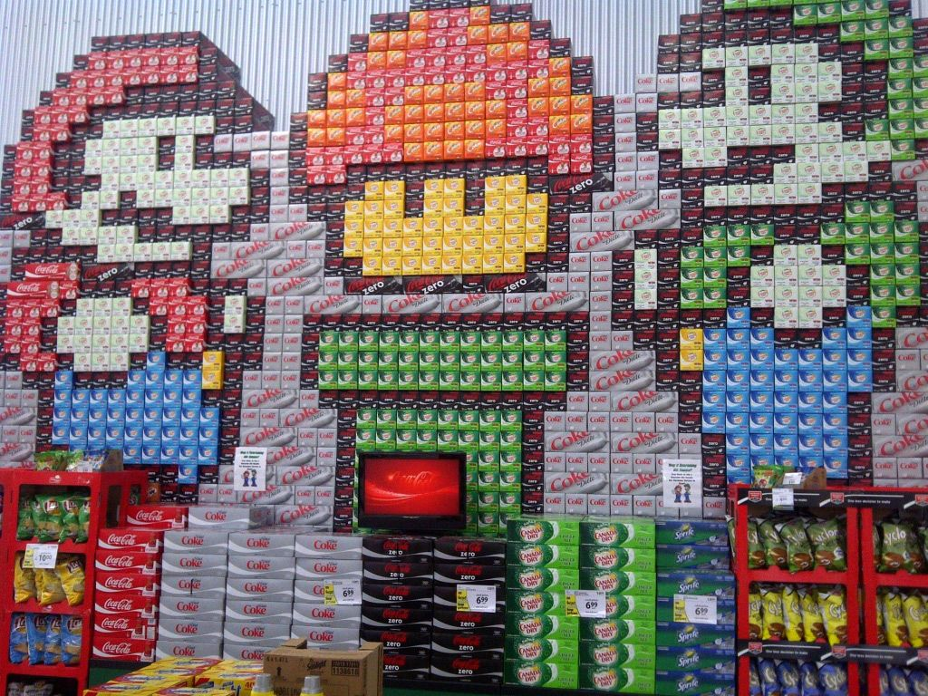 8-bit Mario and Luigi out of 12 pack soda cases