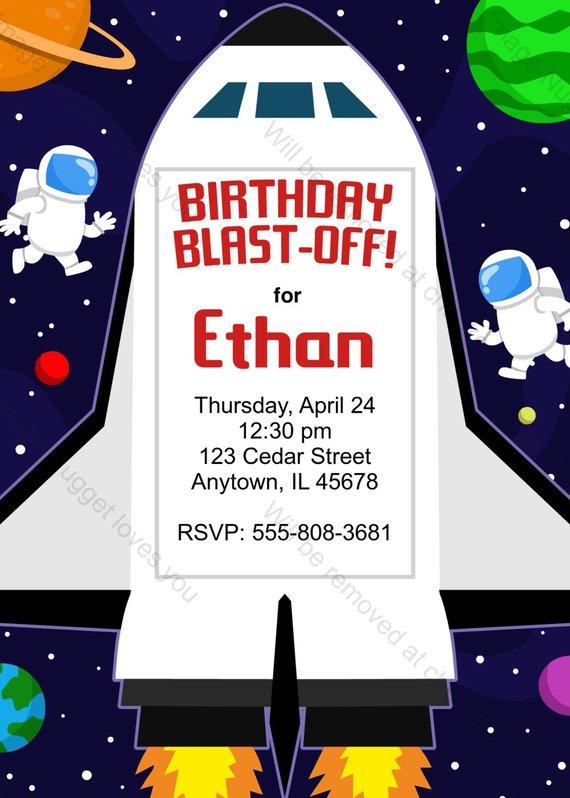 astronaut party invitations - 570×798