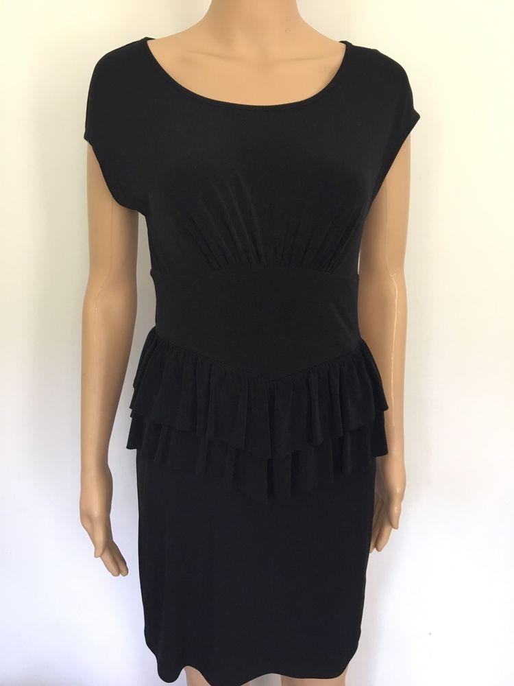 Nearly New Sweet Storm Solid Black Short Cap Sleeve Peplum Dress