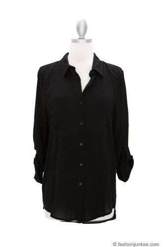 Basic Sheer Button Up Boyfriend Shirt-Black $20