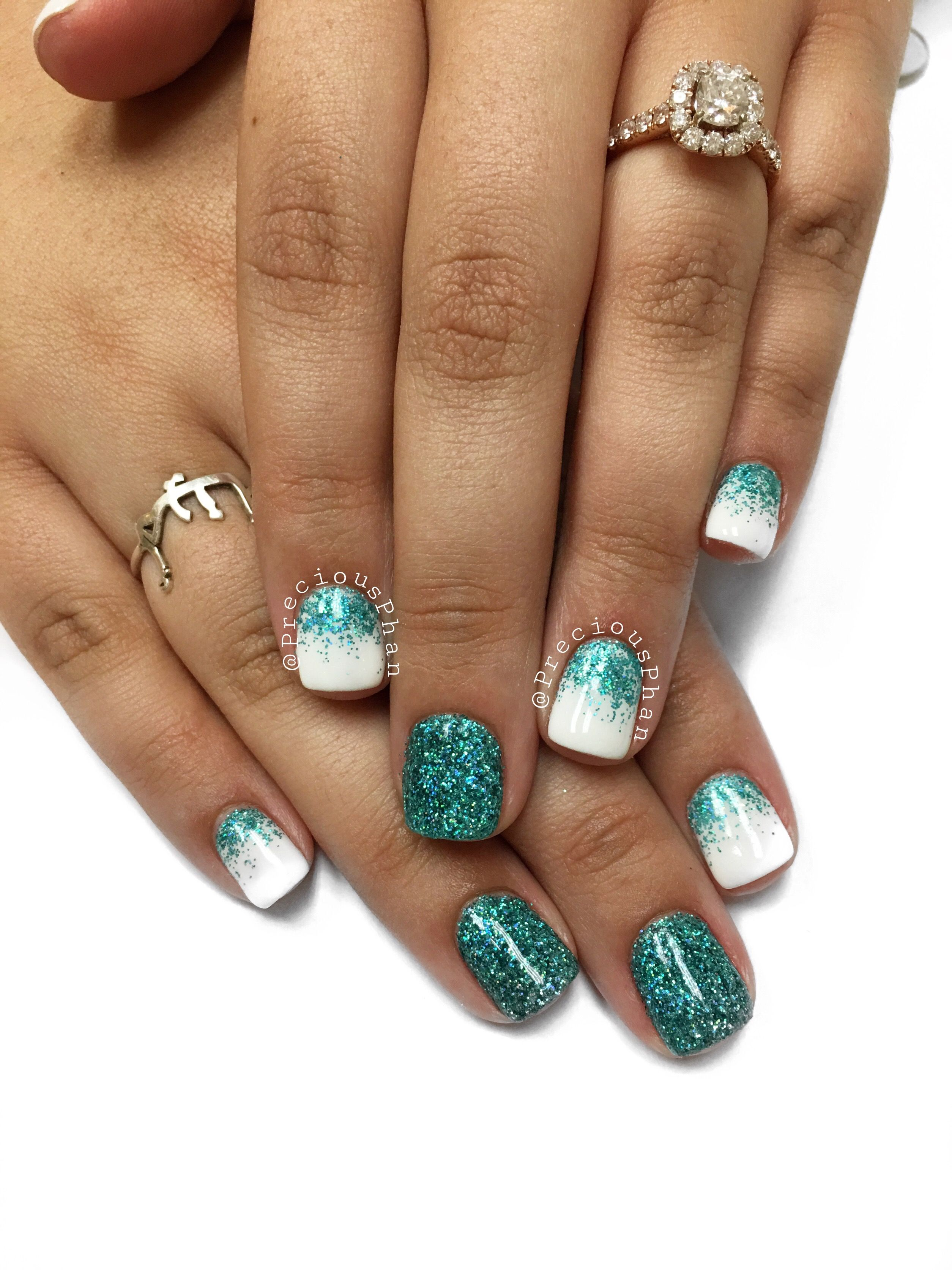 Teal ombré nails on white nails. Loose glitter nails. #PreciousPhan ...