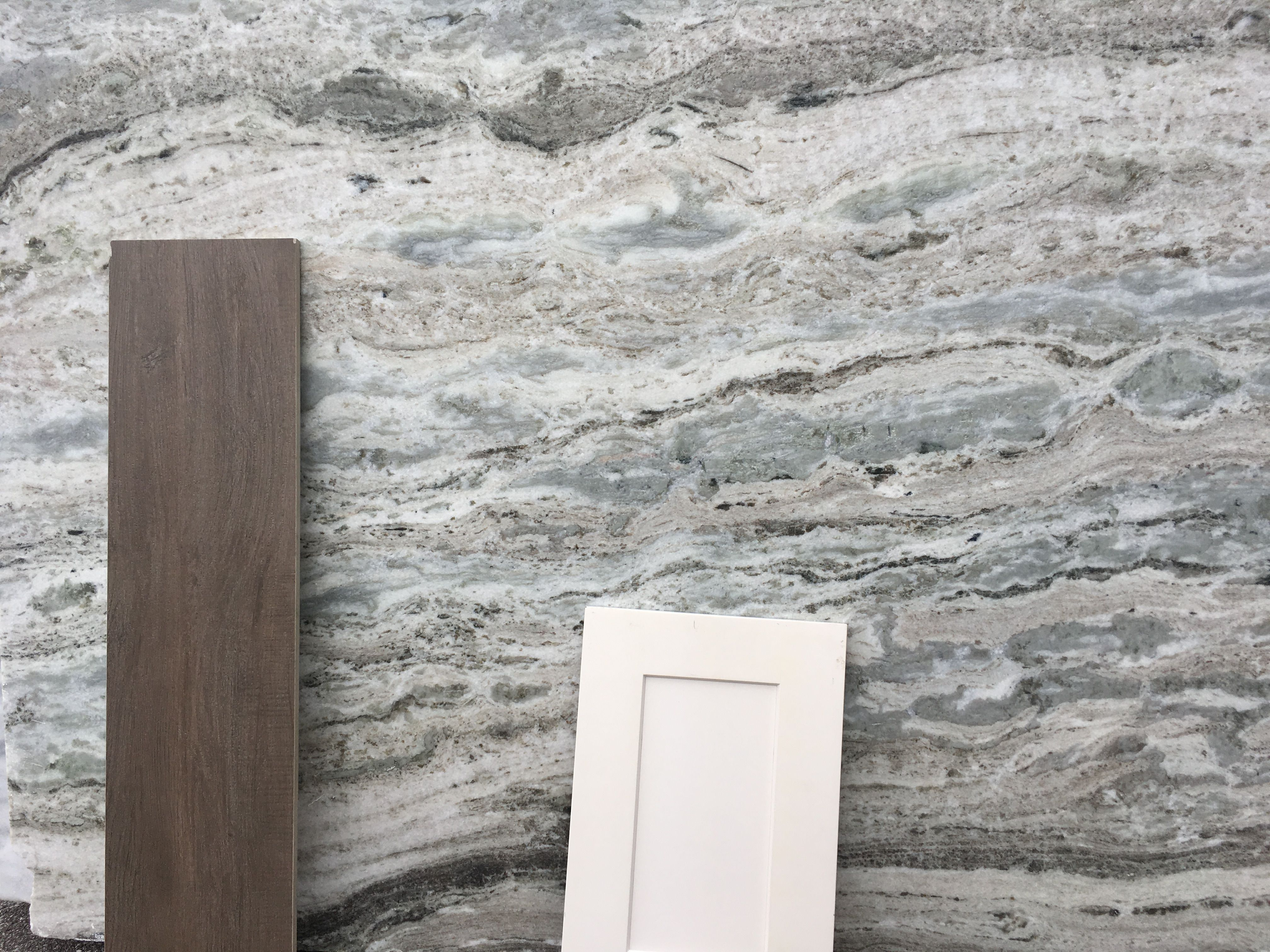 Wood Tile With Leathered Fantasy Brown Marble And White Shaker Cabinets Fantasy Brown Fantasy Brown Granite White Cabinets White Countertops