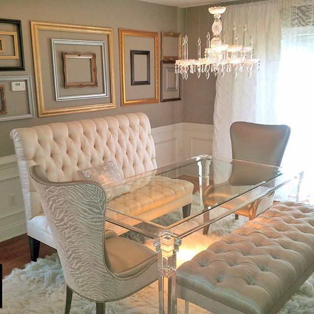 """Tobey Renee Sanders of Faux Decor says, """"When using Modern Masters, no project is too small. This picture frame collage added so much character to this formal dining room. I removed the glass from the frames and painted them with Statuary Bronze, Steel Gray, Black Pearl, Pale Gold, Pewter, and Silver Metallic Paint colors."""""""