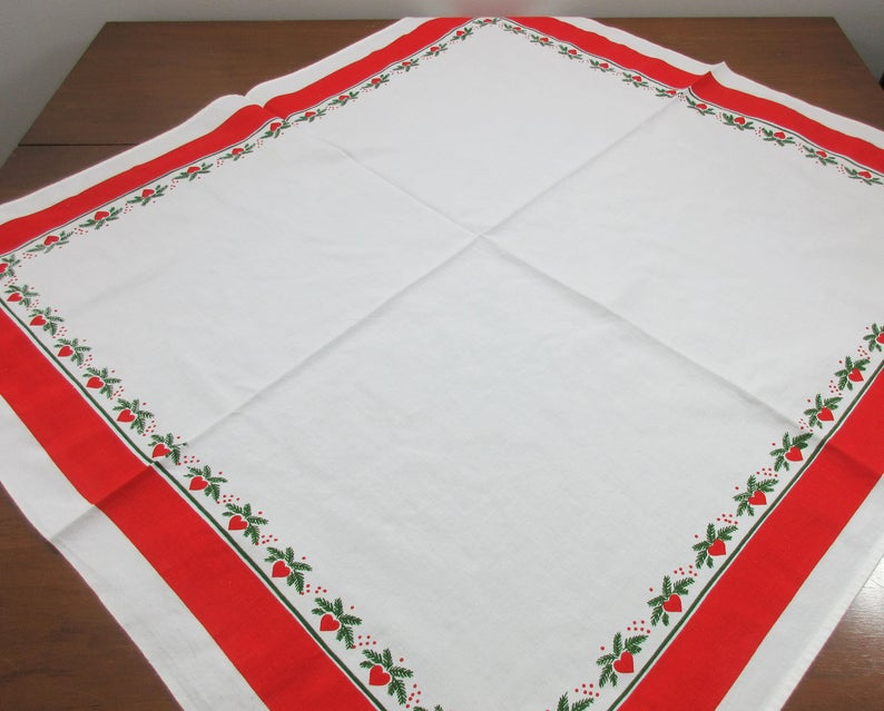 Vintage Scandinavian Christmas Tablecloth Red Hearts Pine Boughs