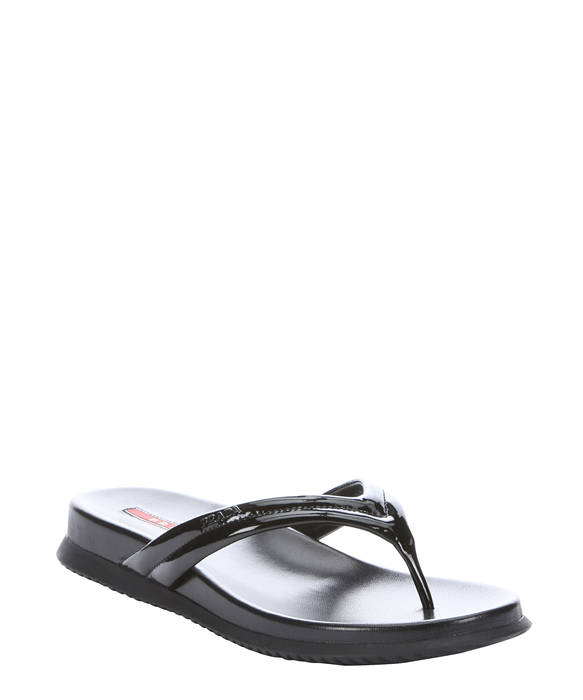 fcfa859270fe Prada Sport black patent leather thong sandals