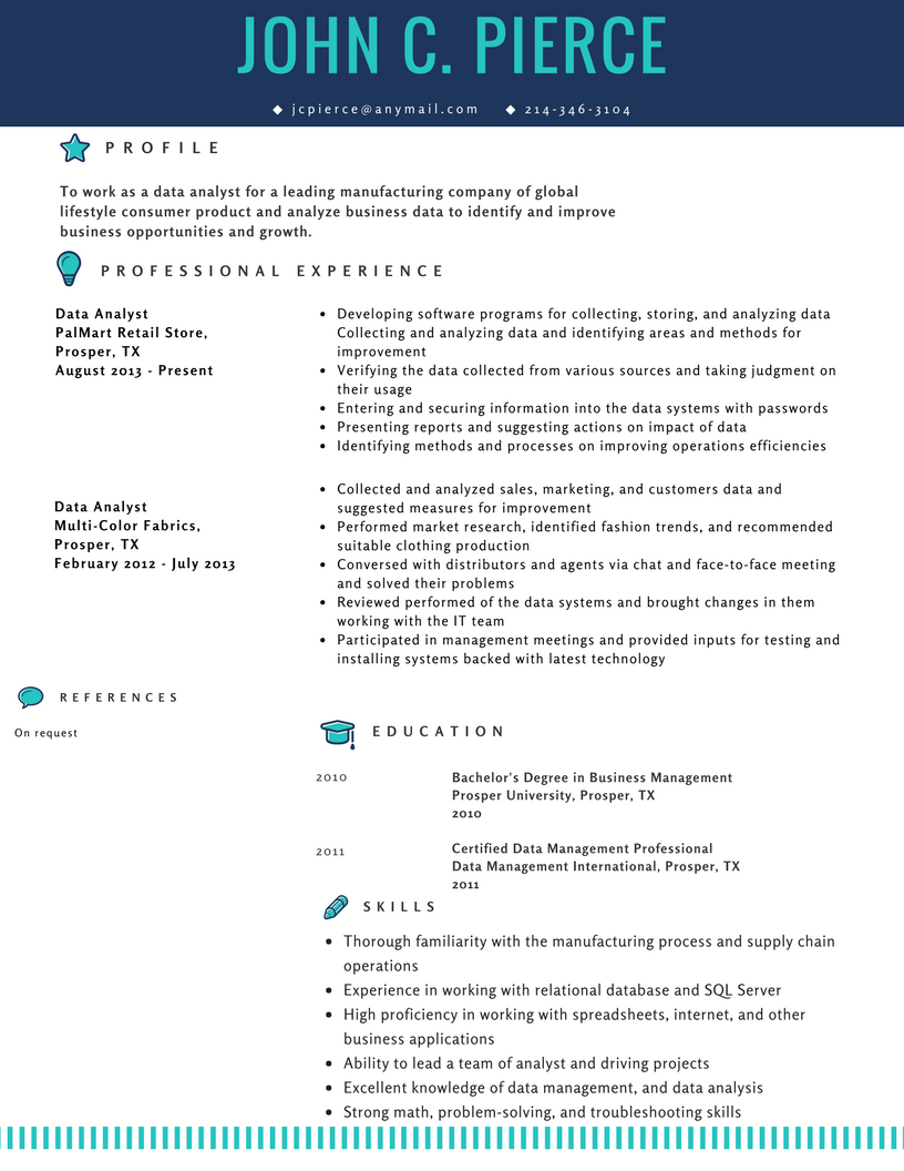 Resume Sample For Data Analyst Data Analyst Resume Resume Examples