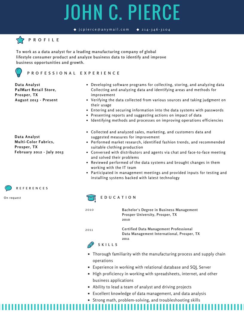 Resume Sample For Data Analyst Data Analyst Resume Data Analysis Tools