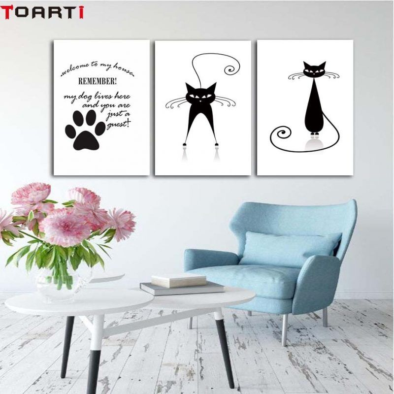 Black White Cat Wall Art Canvas Funny Poster Nursery Quote Nordic Painting Picture Children Room Bedroom Living Room Decor Cat Wall Art Bedroom Wall Art Room Wall Art #wall #art #sayings #for #living #room