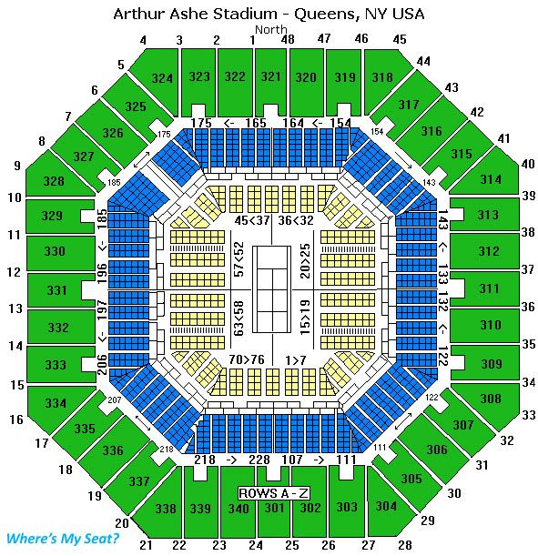 Arthur Ashe Stadium Queens Ny Us Open Us Open Coast Travelus Open - Us-open-tennis-center-map