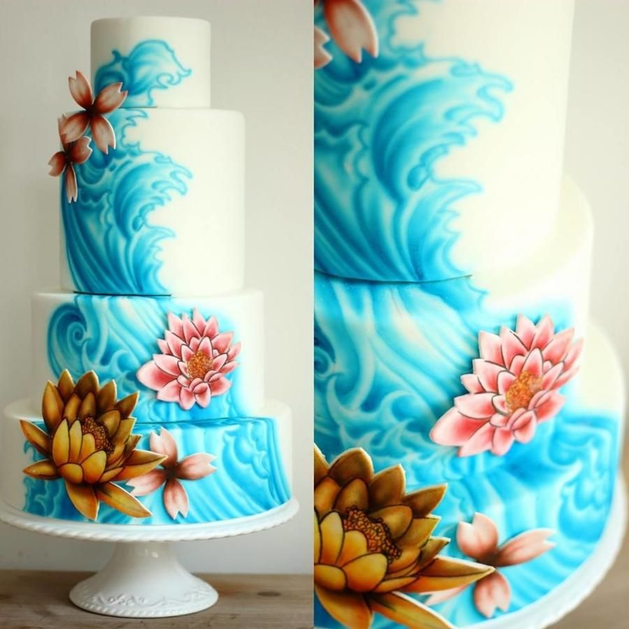Four tier wedding cake with freehand airbrushing cakes for Airbrush cake decoration