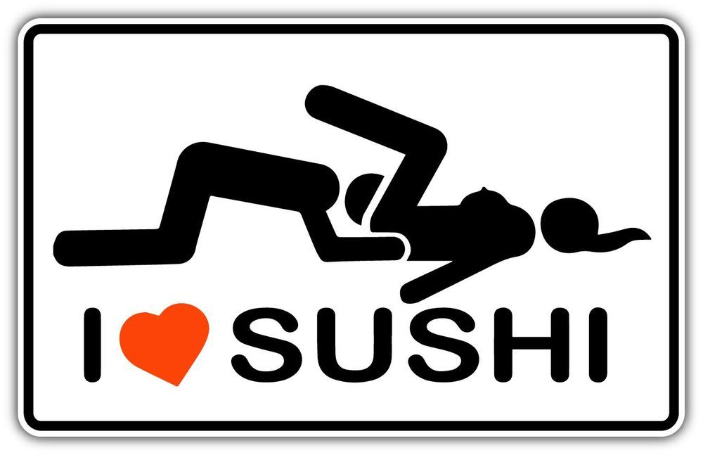 I Love Sushi Adult Funny Car Bumper Window Sticker Decal 5 X3