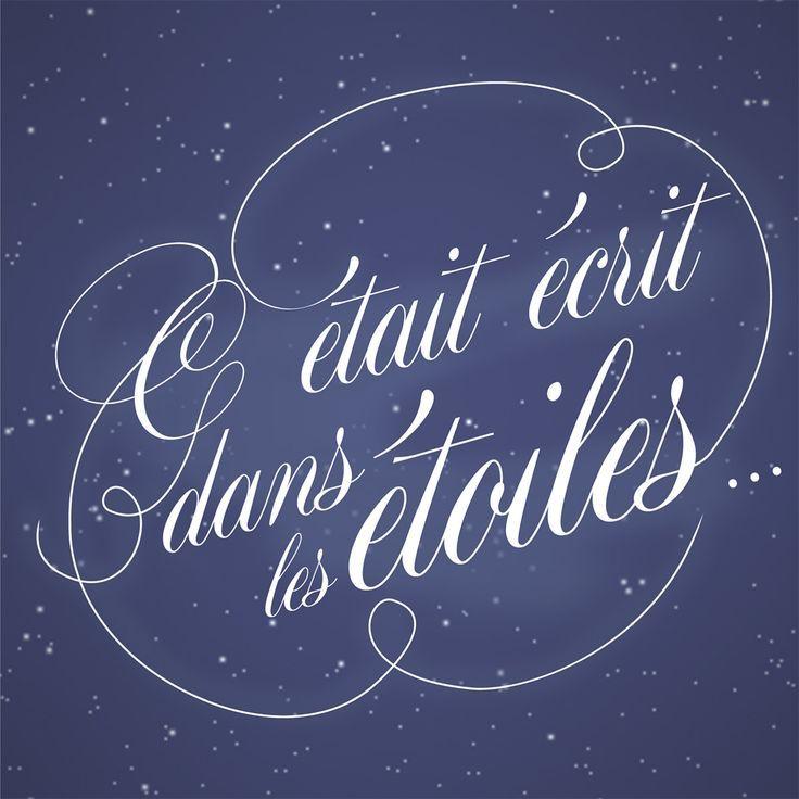 Faire part mariage bleu nuit original étoile et cœur écriture blanche – Julie Dmt