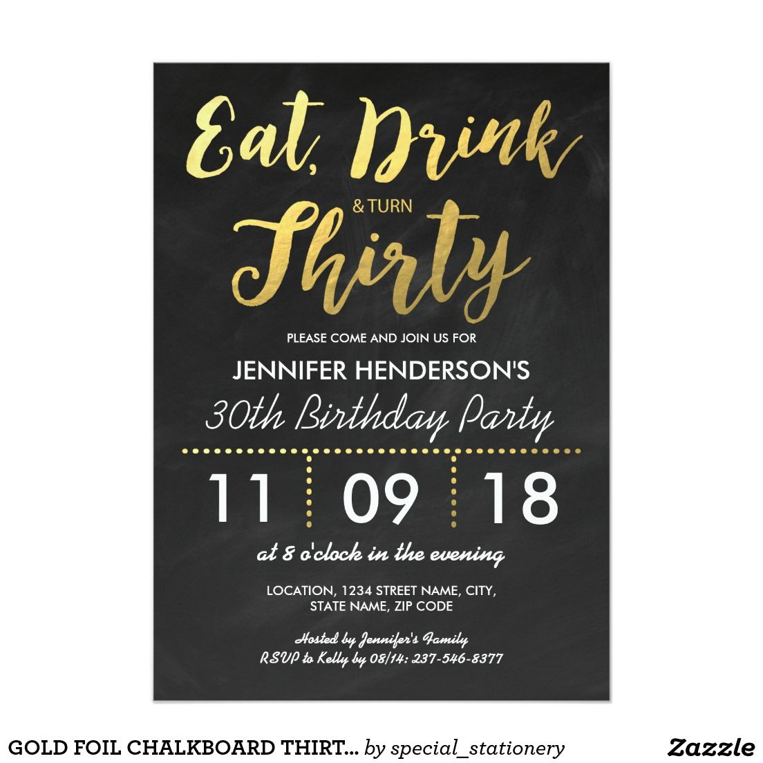 Gold Foil Chalkboard Thirty Birthday 30th 13 Cm X 18 Cm Invitation