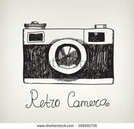 Vector Retro Hand Drawn Hipster Photo Camera Isolated 169581716 Dibujos Hipster Camara De Fotos Dibujo Manos Dibujo
