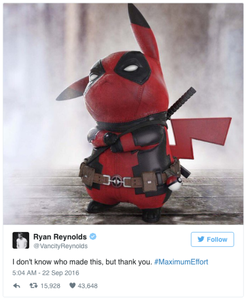Ryan Reynolds Shares Adorable Pikachu v Deadpool Mash Up Art