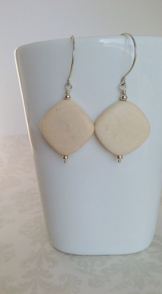 River Stone and Sterling Silver Earrings by TheBeadtiqueJewelry, $18.00