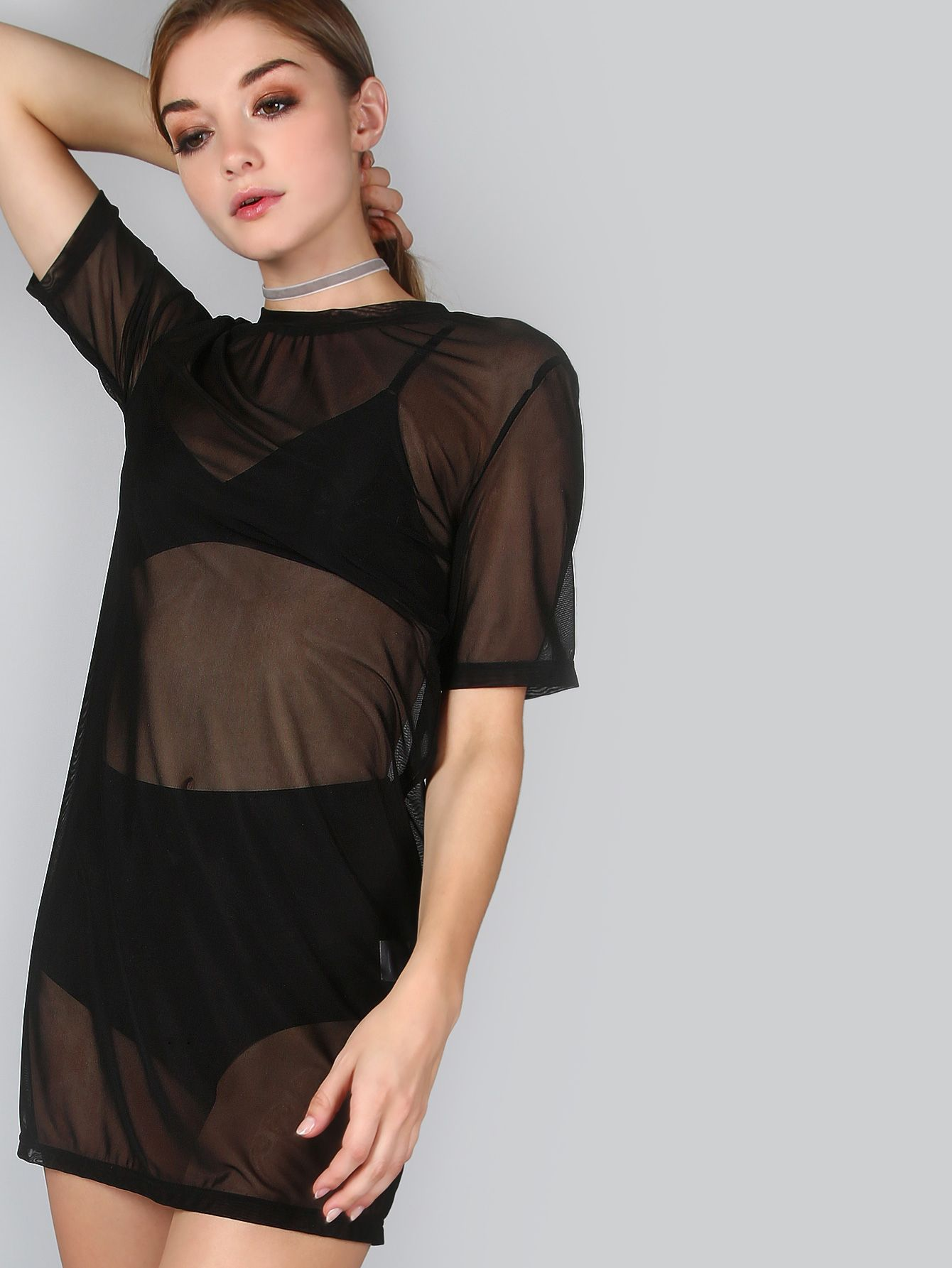 Shop Mesh T Shirt Dress Black Online Shein Offers Mesh T