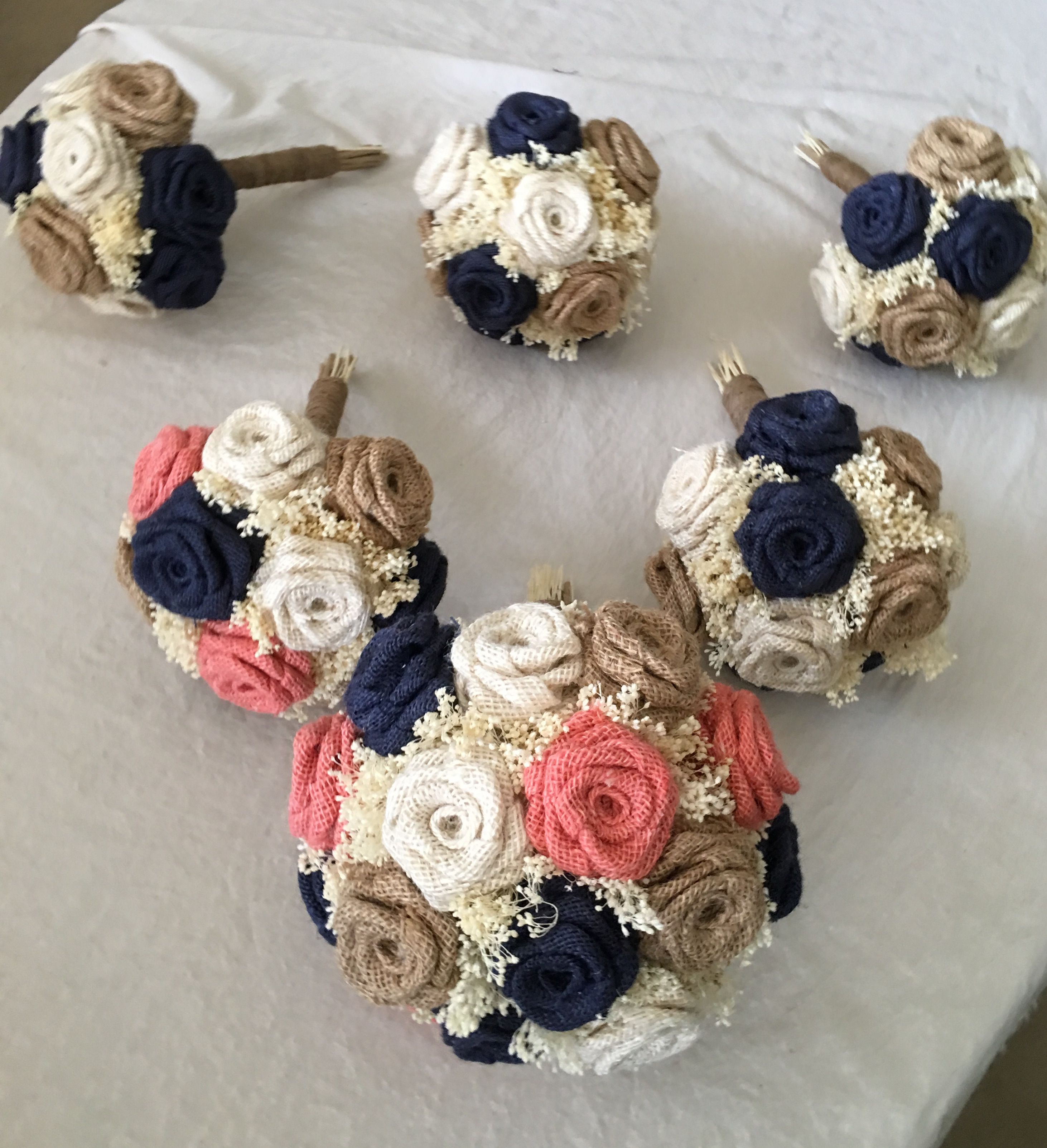 Coral navy natural ivory burlap wedding bouquets choose size burlap bouquets in coral navy natural and ivory each bouquet including every flower if 100 handmade from scratch to create this bouquets with rustic izmirmasajfo