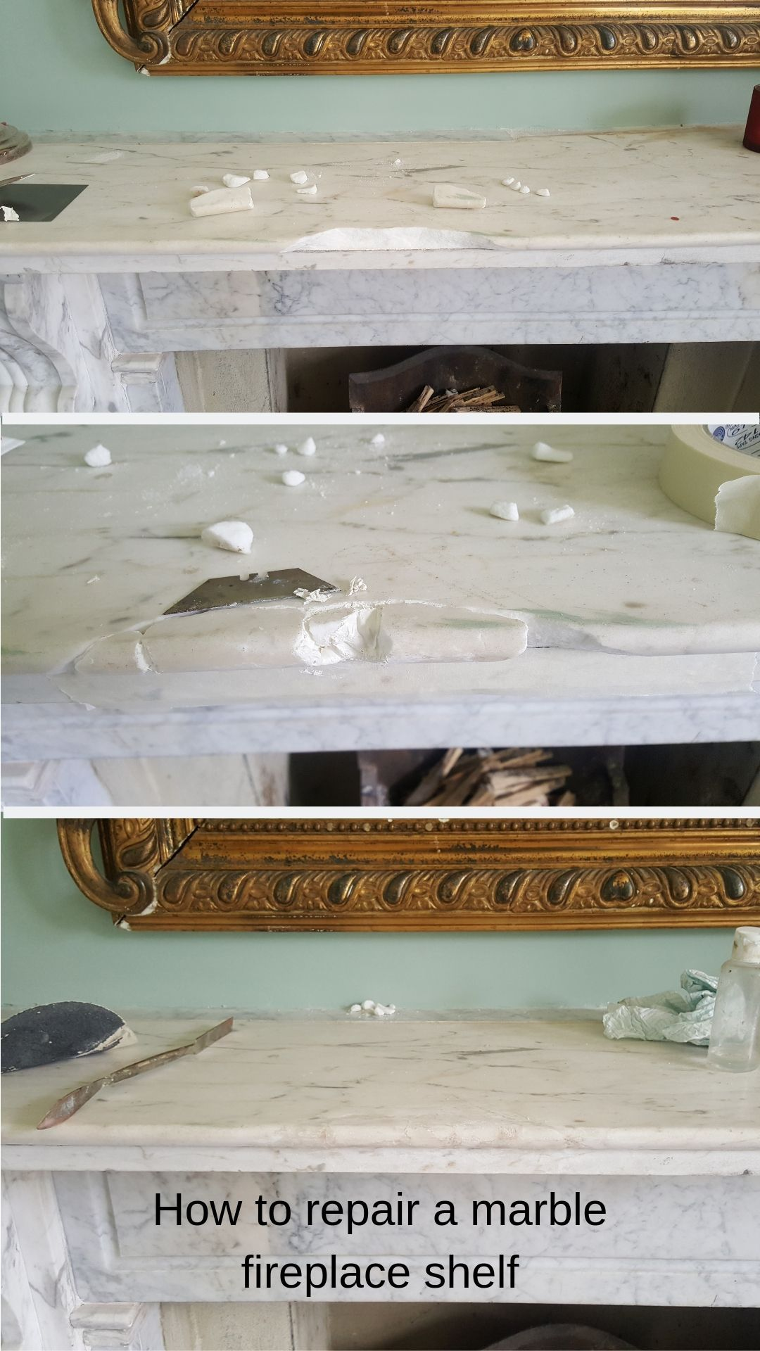 Damaged Marble Fireplace Shelf Repaired With Original Pieces Of