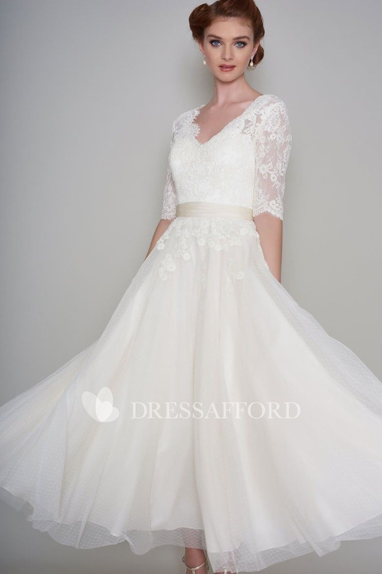 Simple Lace And Organza A Line Half Sleeve Ankle Length Wedding Dress Ankle Length Wedding Dress Simple Wedding Dress With Sleeves Half Sleeve Wedding Dress [ 1183 x 788 Pixel ]