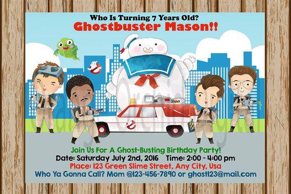 Boys Ghostbusters Birthday Invitations Invitation 5x 7