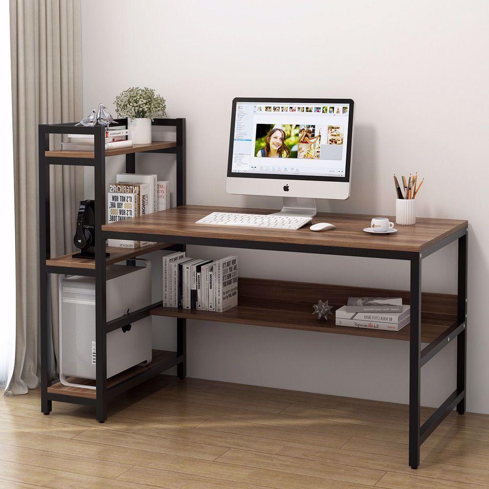 Office Desk Computer Table With 4 Tier Storage Shelves Diseno De Muebles Muebles Para Pc Muebles Industriales