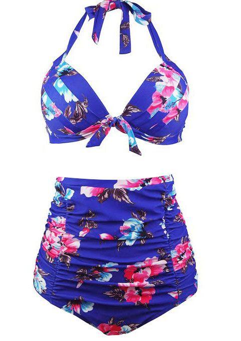 d4859771ce Plus Size Floral Halter Sexy Bikini Set