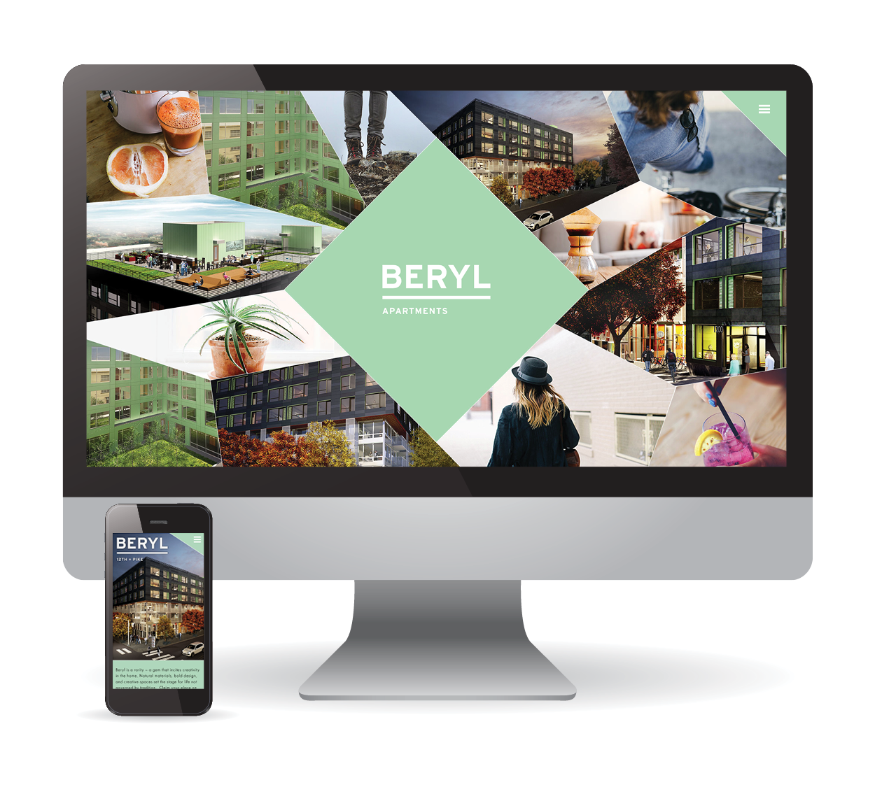 Desktop And Mobile Responsive Web Design For Beryl Apartments In Seattle Wa Creative Branding Creative Portfolio Web Design