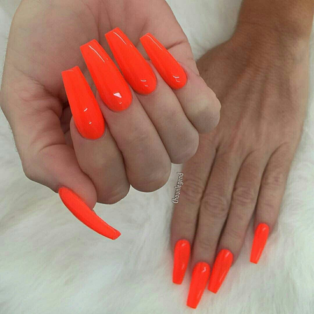 Essenceaq Orange Acrylic Nails Orange Nails Neon Acrylic Nails