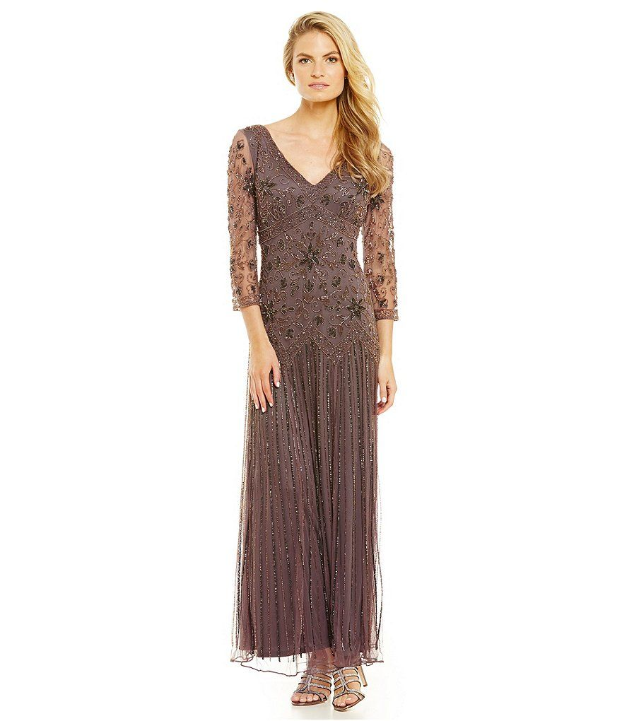 Dresses to wear at a wedding  Pisarro Nights VNeck Beaded Mesh Gown  Ash Gowns and Wedding