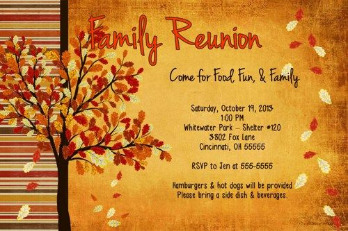family reunion fall get together birthday party invitation fall