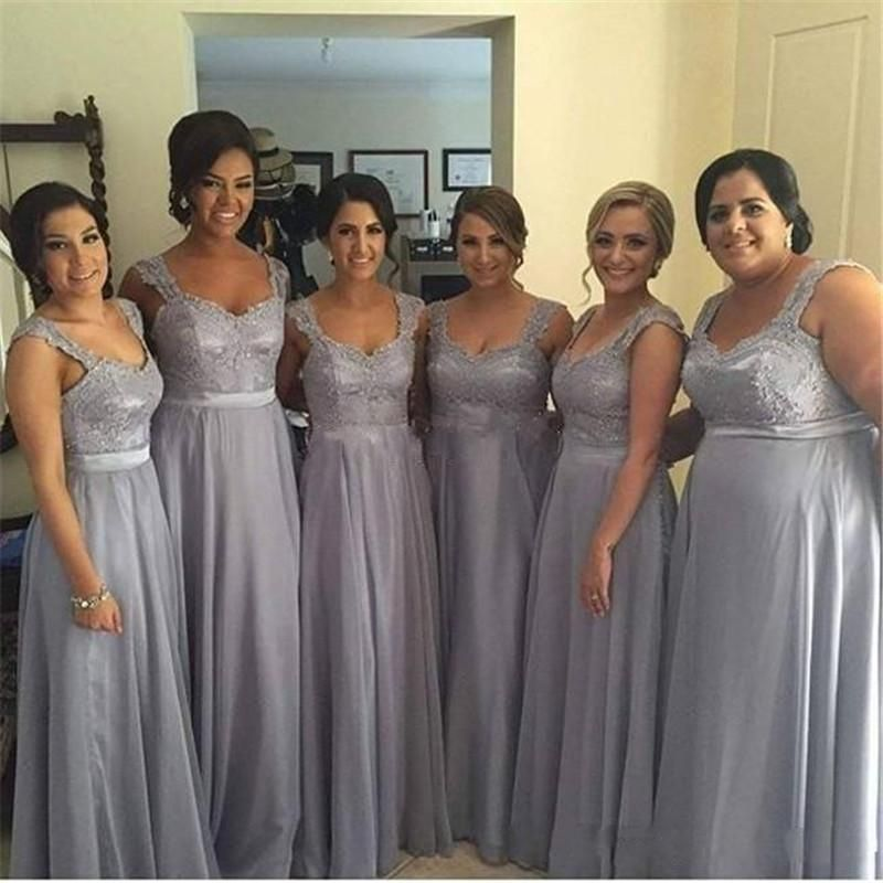 long bridesmaid Dresses, gray bridesmaid dress, lace ...