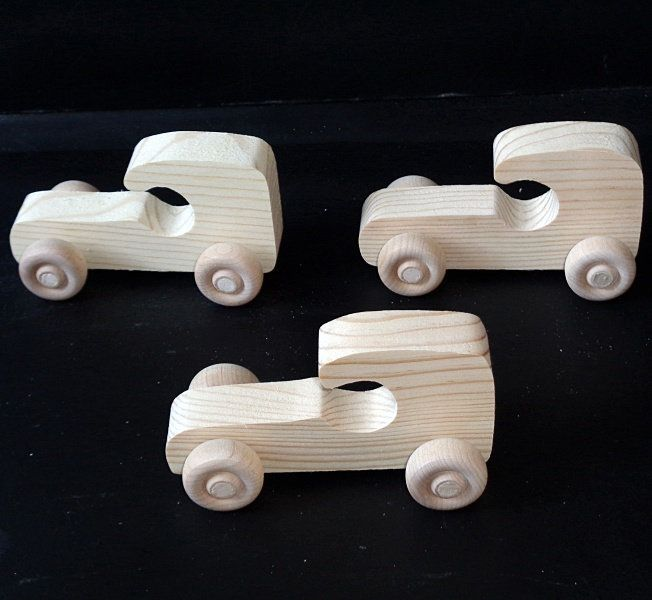 Pkg Of 3 Handcrafted Wood Toy Cars 23BH-U-3 Unfinished Or