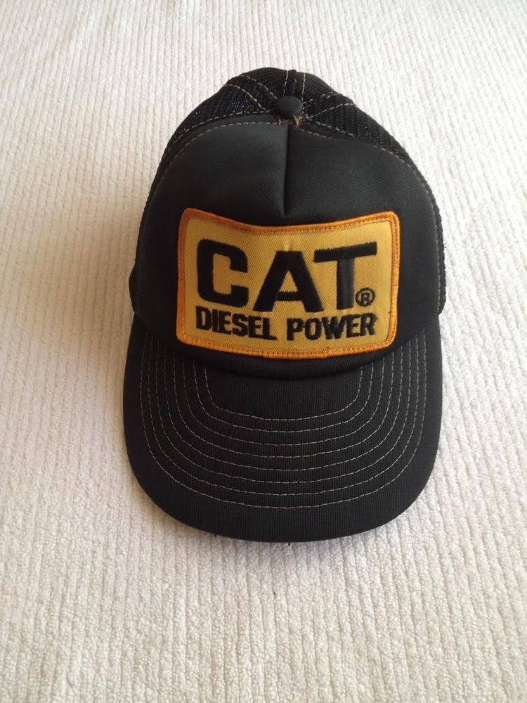 90d32fc2bde CAT DIESEL POWER BLACK TRUE VINTAGE TRUCKER HAT CAP DISTRESSED   CatDieselPower