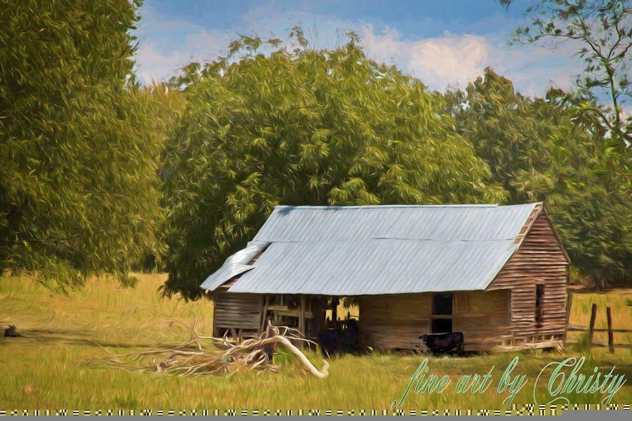 Fine Art Old Barn Scene From Original Digital Paintings Produced Using Corel Paint Photoshop Wacom Brush Tablet And Ha Barn Art Barn Painting White Painting
