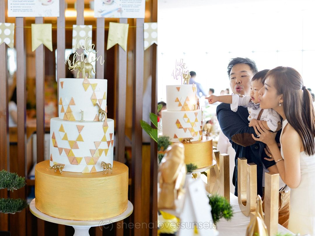 Golden Geometric Safari Cake. A gold and white themed