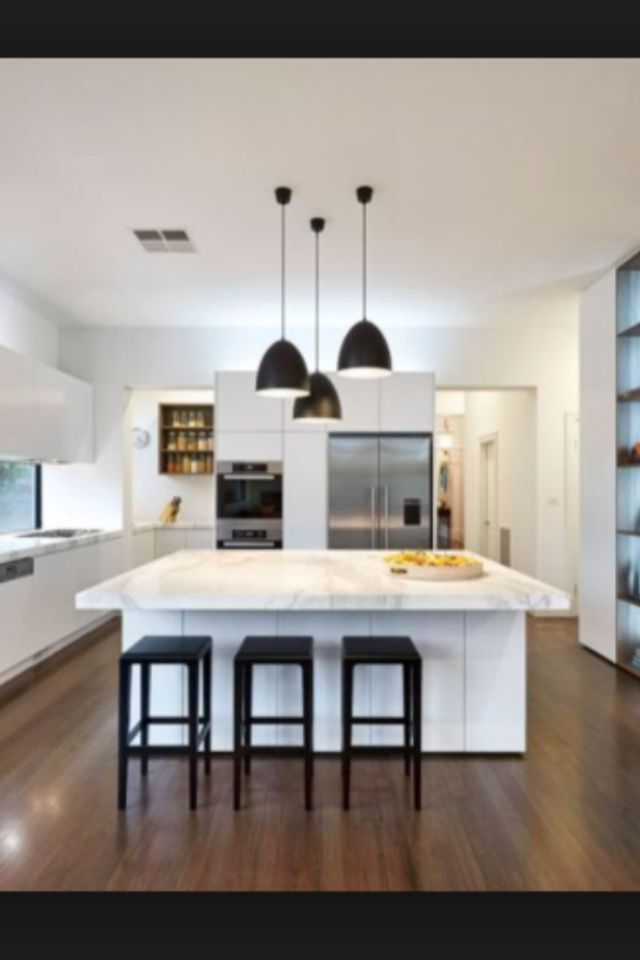 All White Kitchen With Black Accents Interior Decoration Ideas