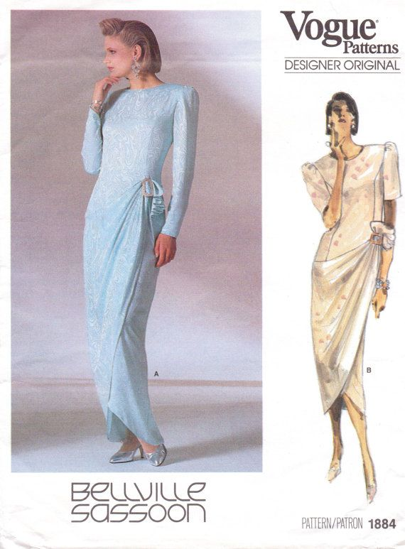 80s Bellville Sassoon Womens Evening Gown Vogue Sewing Pattern 1884 ...