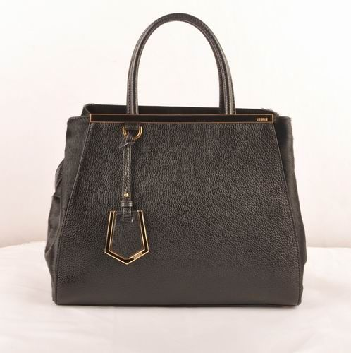 bb90d858bac7 Fendi 2jours Black Calfskin Leather Horsehair Leather Medium Bag  299.00