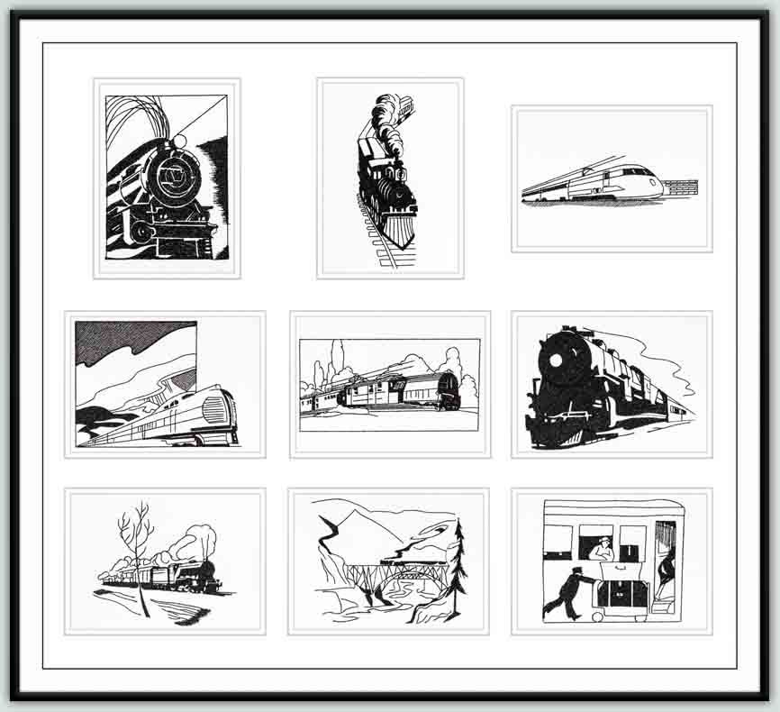 Blackwork - TrainsCombine these designs with full color trains for a great quilt. Or stitch one on a shirt or jacket for the train enthusiast.