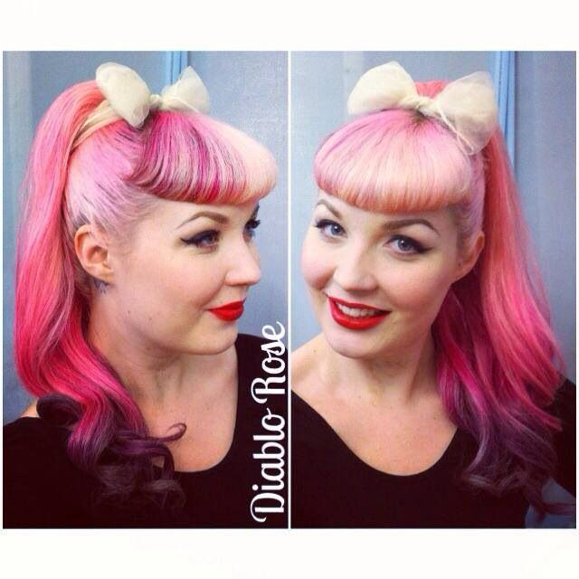 Rockabilly hair--love the ombre pink